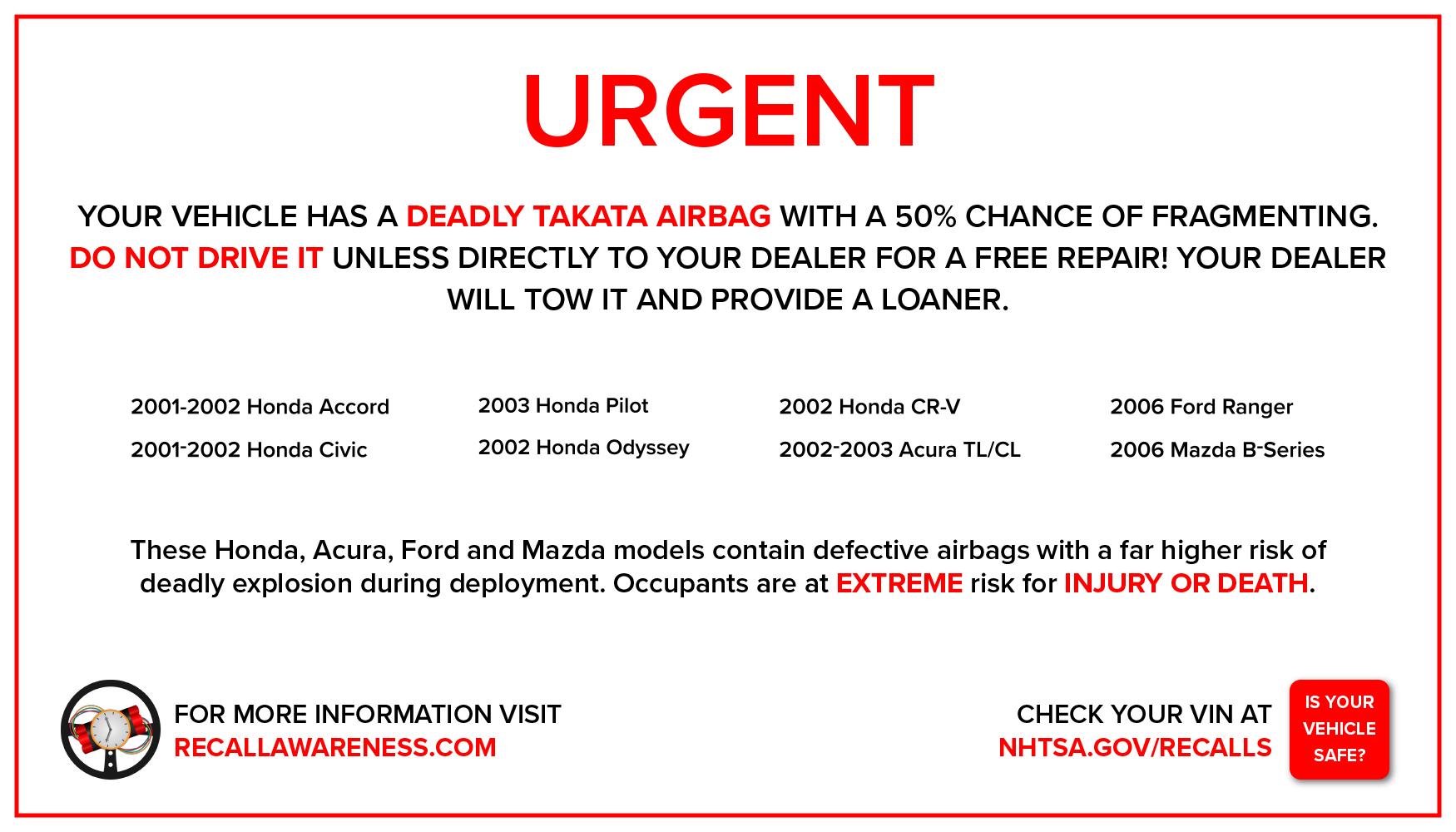 Takata Airbag Recall Awareness